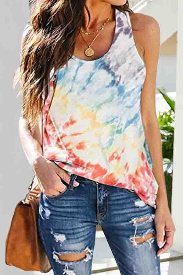 Tie Dye Round Neck Casual Wear Vest