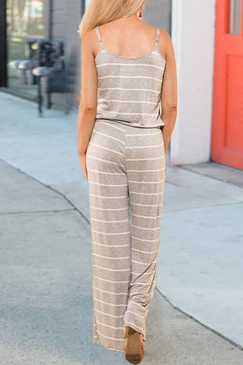Sleeveless Striped Spaghetti Strap Jumpsuit