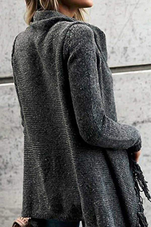 Tassel Solid Long Sleeve Sweater