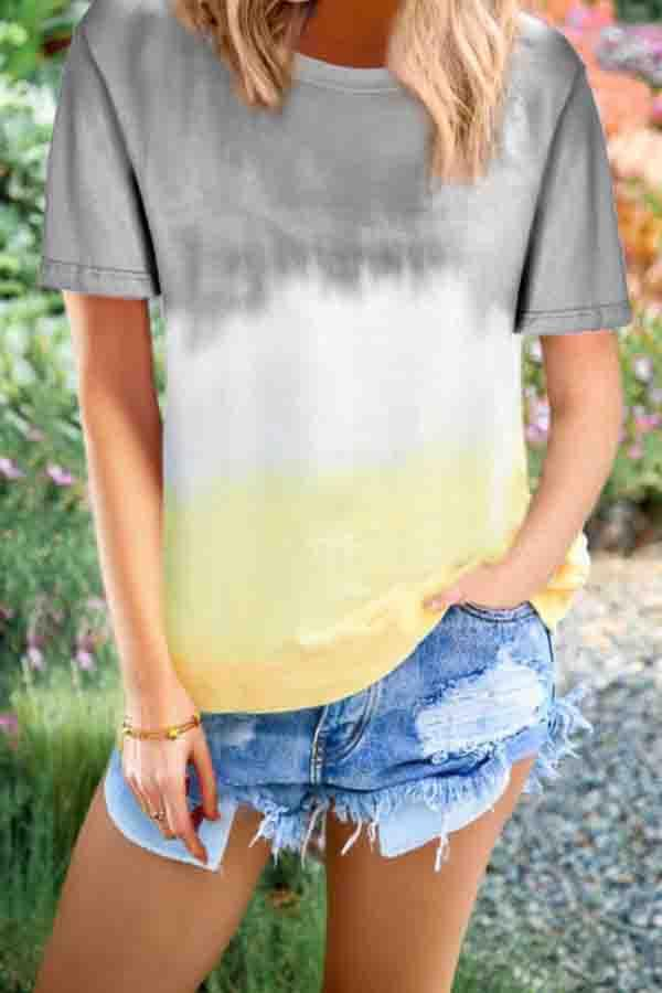 Short Sleeve Gradient Round Neck Casual Wear T-Shirt