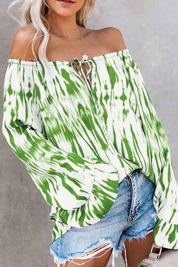 Trumpet Sleeve Natural Print Off Shoulder Casual Wear Blouse