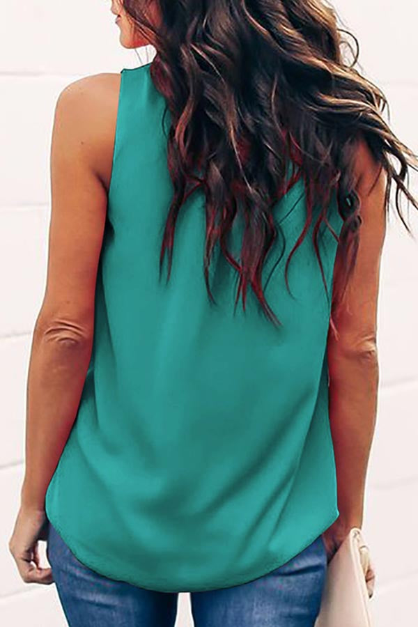 Sleeveless Solid Color Round Collar Casual Wear T-Shirt