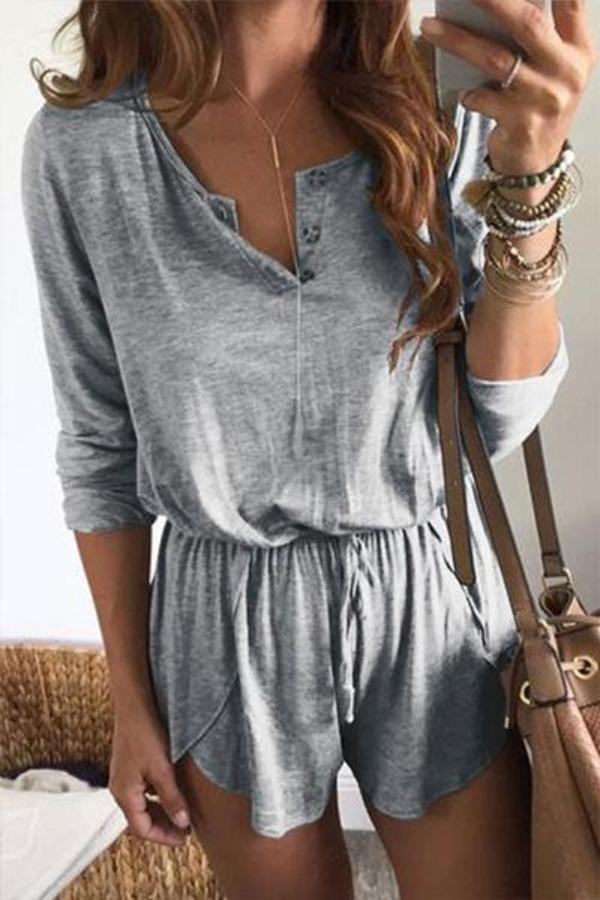 Long Sleeve  Buttons Casual Short Playsuit