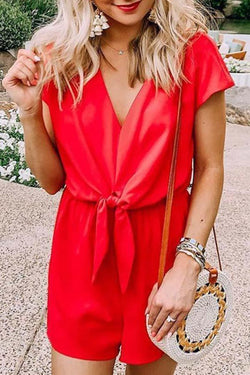 V Collar Backless Short-Sleeved Romper