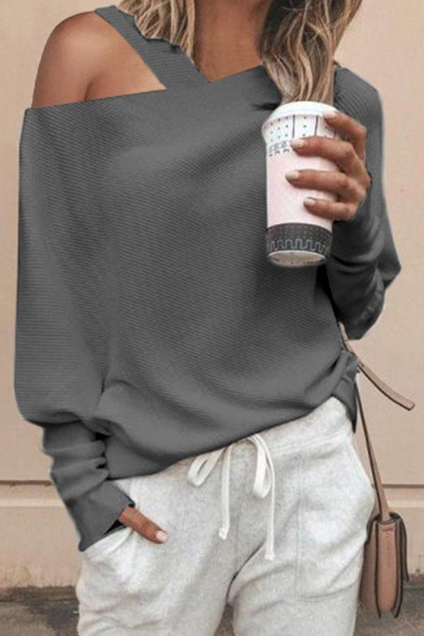 Solid Color Off Shoulder Top