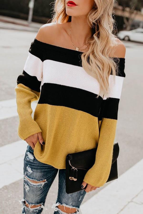 Collision Color Off Shoulder Sweater