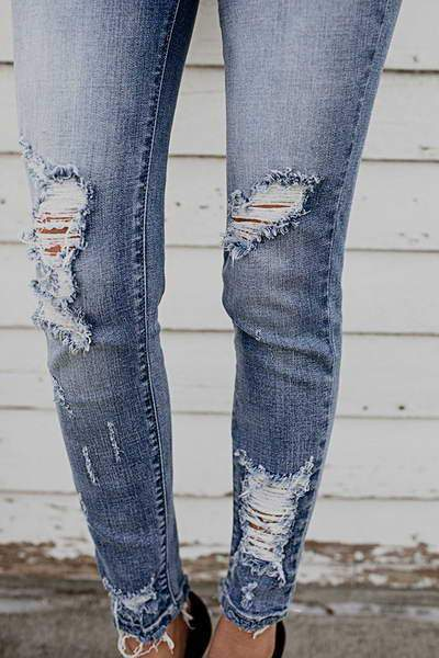 Blue Frayed Cuff Jeans