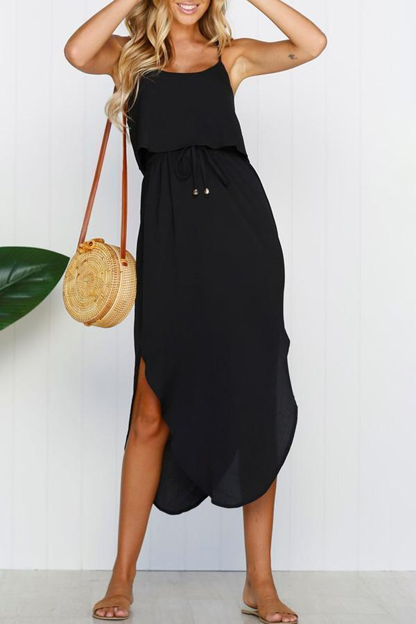 Solid Colour Sling Lace Up Dress