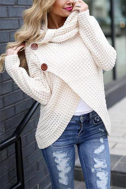 long-sleeve-cowl-neck-button-detail-cross-over-waffle-knit-sweater