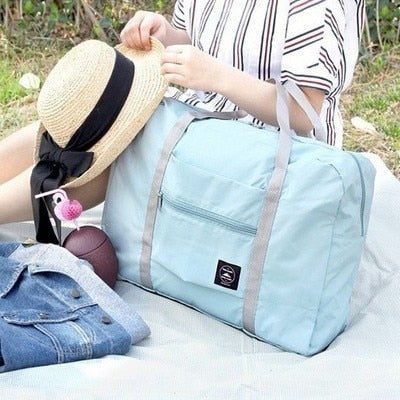 Foldable Carry On Bag with Suitcase Grip