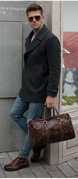 Men's Sleek Genuine Leather Duffle Bag