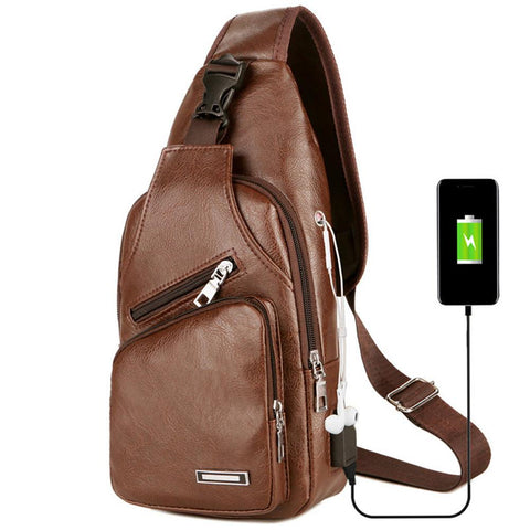 Unique Men's Crossbody Leather Bag with USB Charging Port