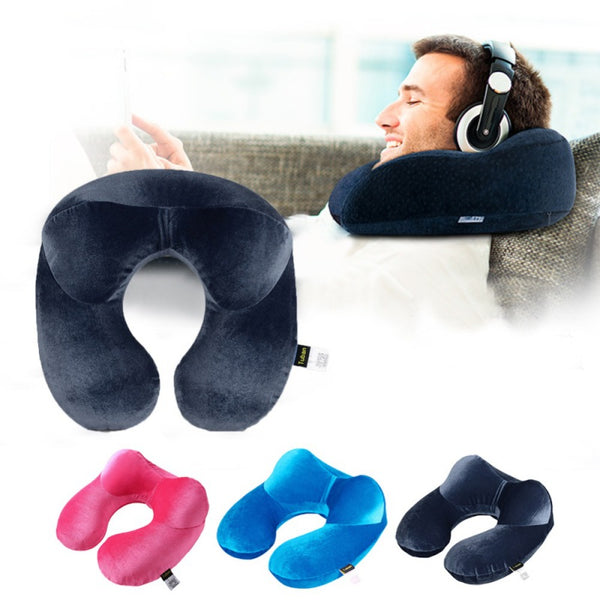 Inflatable Velvet Neck Pillow with Extra Support Cushion
