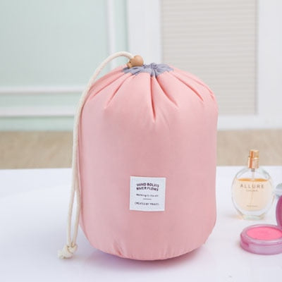 Barrel Shaped Waterproof Drawstring Cosmetic Bag