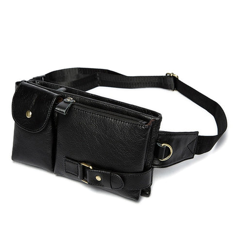 Men's Multi-Way Leather Pack for Waist Back, and Chest
