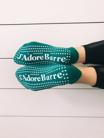 #Limited Edition Pop Ballet Socks: Teal Green J'Adore Barre