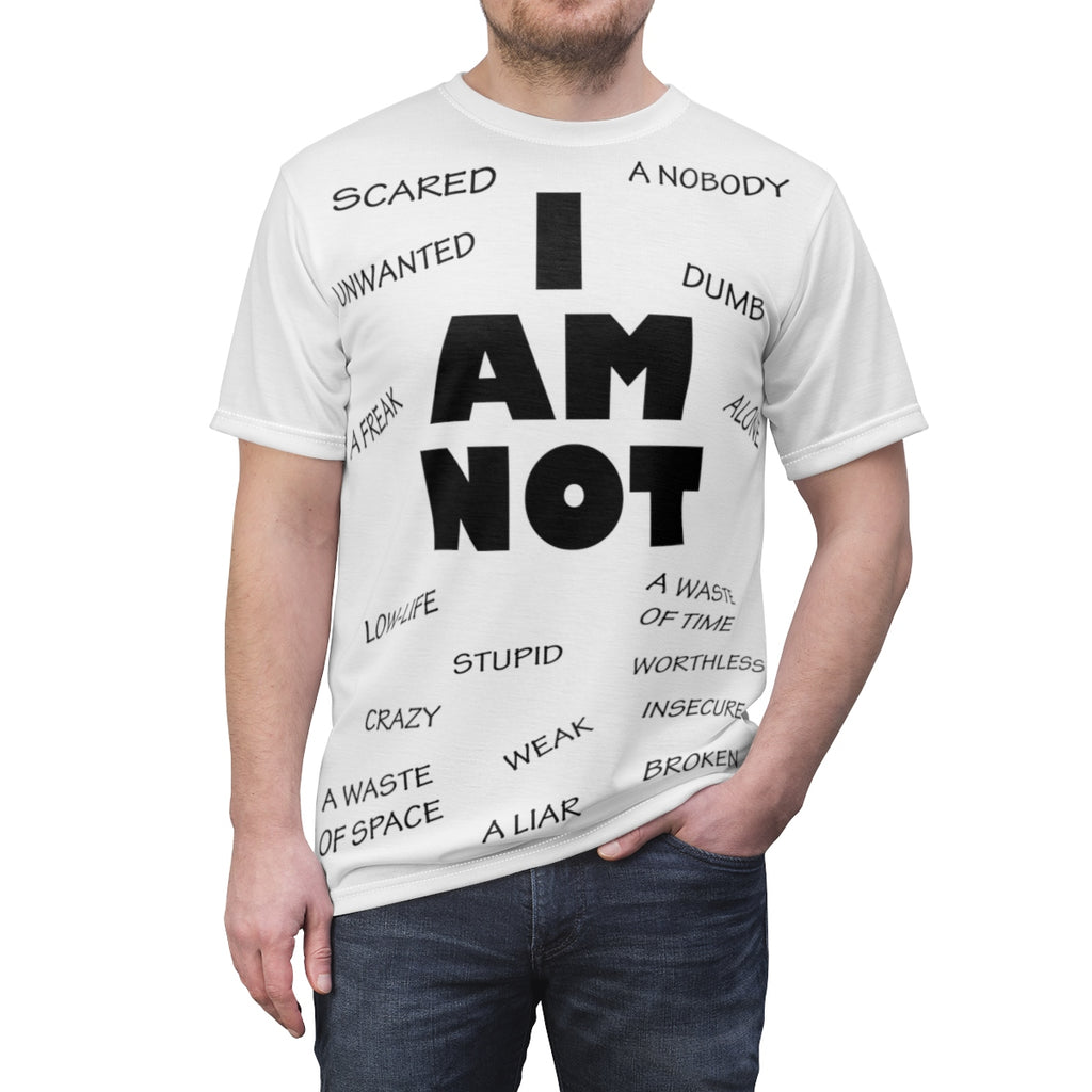 Unisex AOP Cut & Sew Tee - (Front) I am not / (Back) I am
