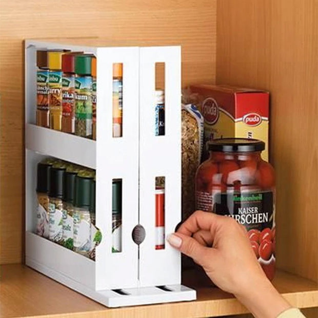 Kitchen Spice Organizer Rack Multi-Function Rotating Storage