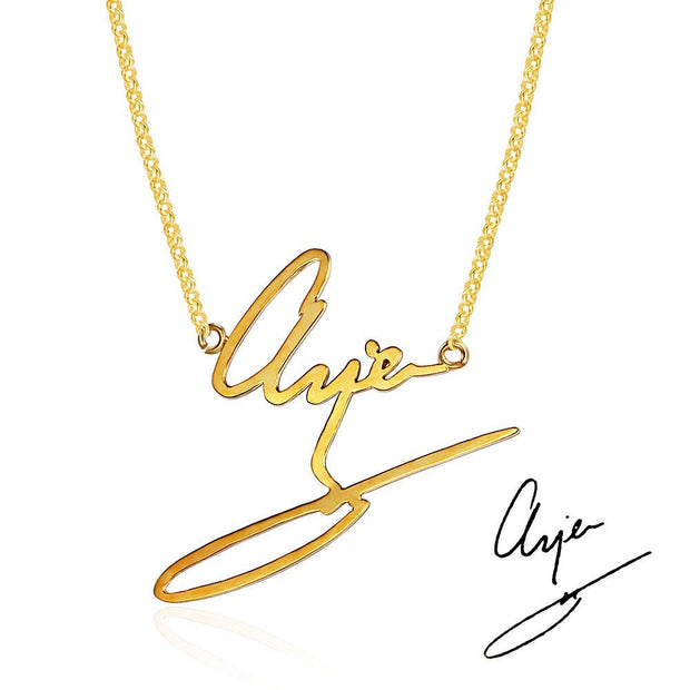 14k gold handwriting jewelry