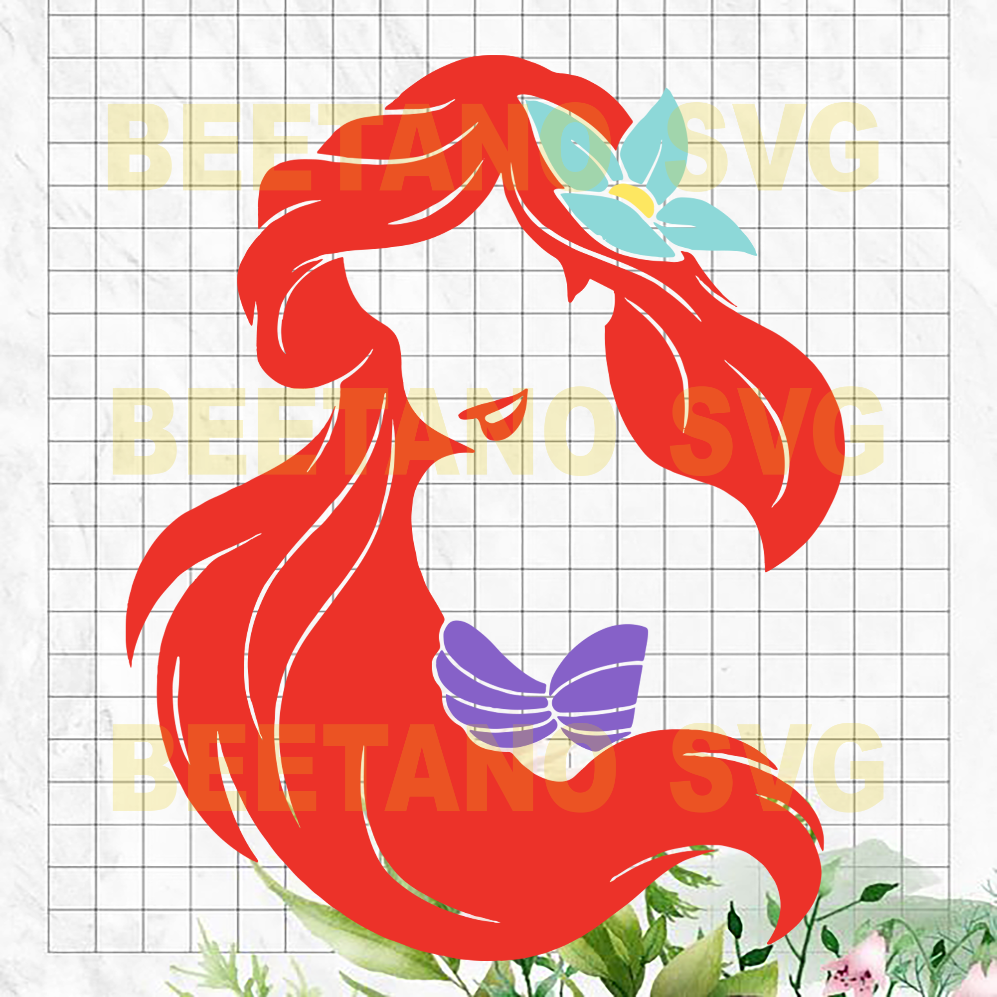 Little Mermaid Ariel SVG, Little Mermaid Clipart, Disney Character, Little Mermaid Ariel Cutting Files For Cricut, SVG, DXF, EPS, PNG Instant Download