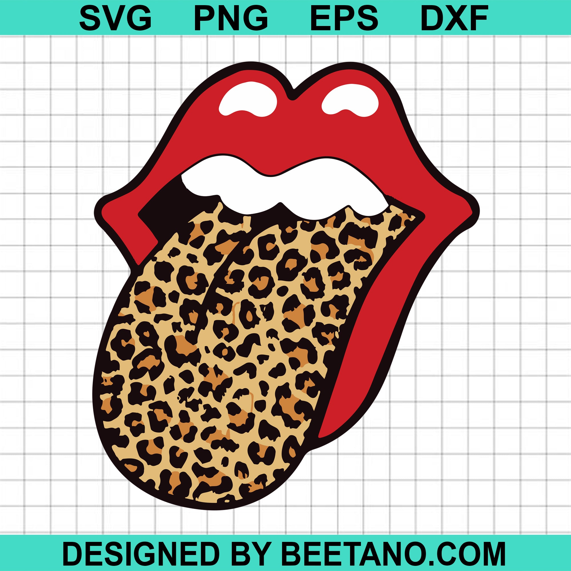 Red lips leopard svg