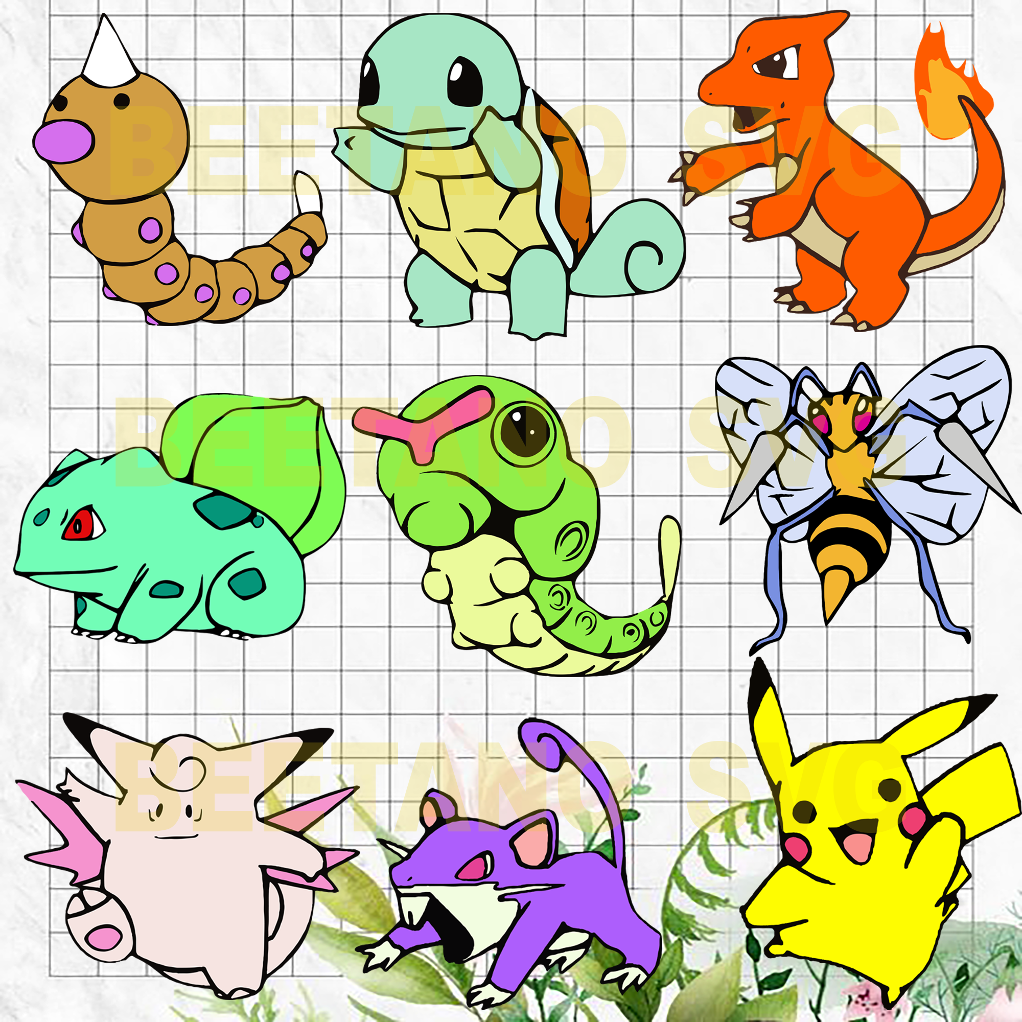Pokemon Svg Bundle, Pokemon Character Svg Bundle, Pokemon Cutting Files, Pokemon Files For Cricut, Pokemon Cutting Files For Cricut, SVG, DXF, EPS, PNG Instant Download