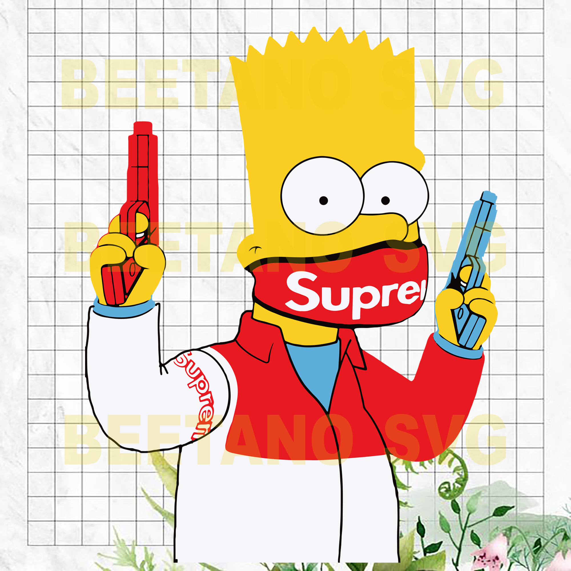 Simpson Supreme Svg Files, The Simpsons Supreme Vector, Supreme Svg, The Simpsons Supreme Clipart, The Simpsons Supreme Cutting Files For Cricut, SVG, DXF, EPS, PNG Instant Download
