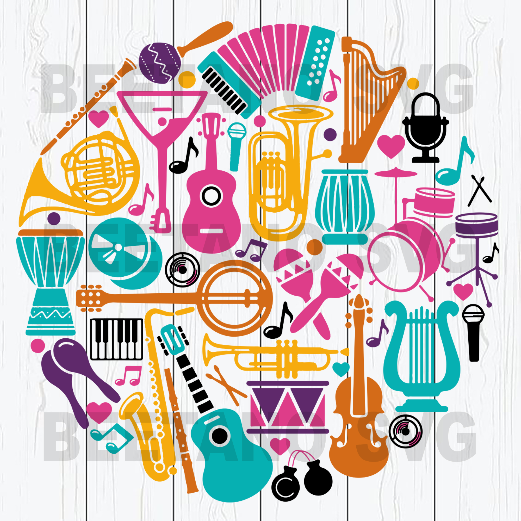 Musical instrument Cutting Files For Cricut, SVG, DXF, EPS, PNG Instant Download
