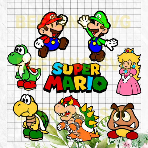 Super Mario Christmas Cutting Files For Cricut Svg Dxf Eps Png