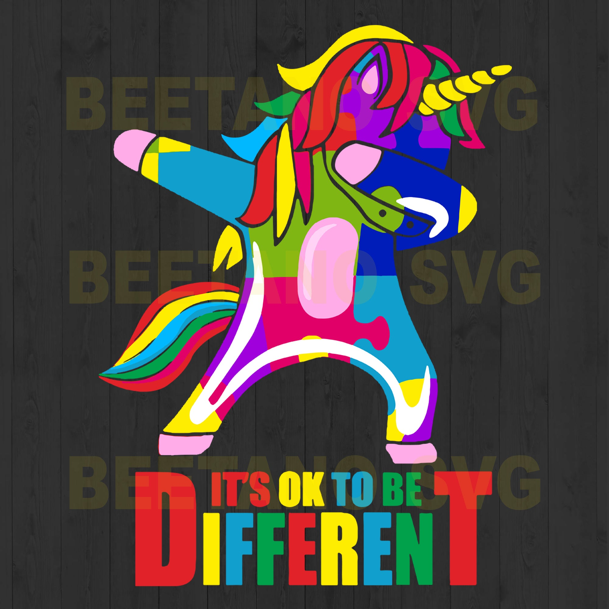 It's Ok To Be Different Autism Unicorn
