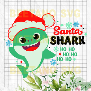 Santa Shark Ho Ho Ho Svg Files, Santa Shark Svg, Santa Shark Cutting Files, Santa Shark Files, Santa Shark Vector, Santa Shark Cutting Files For Cricut, SVG, DXF, EPS, PNG Instant Download