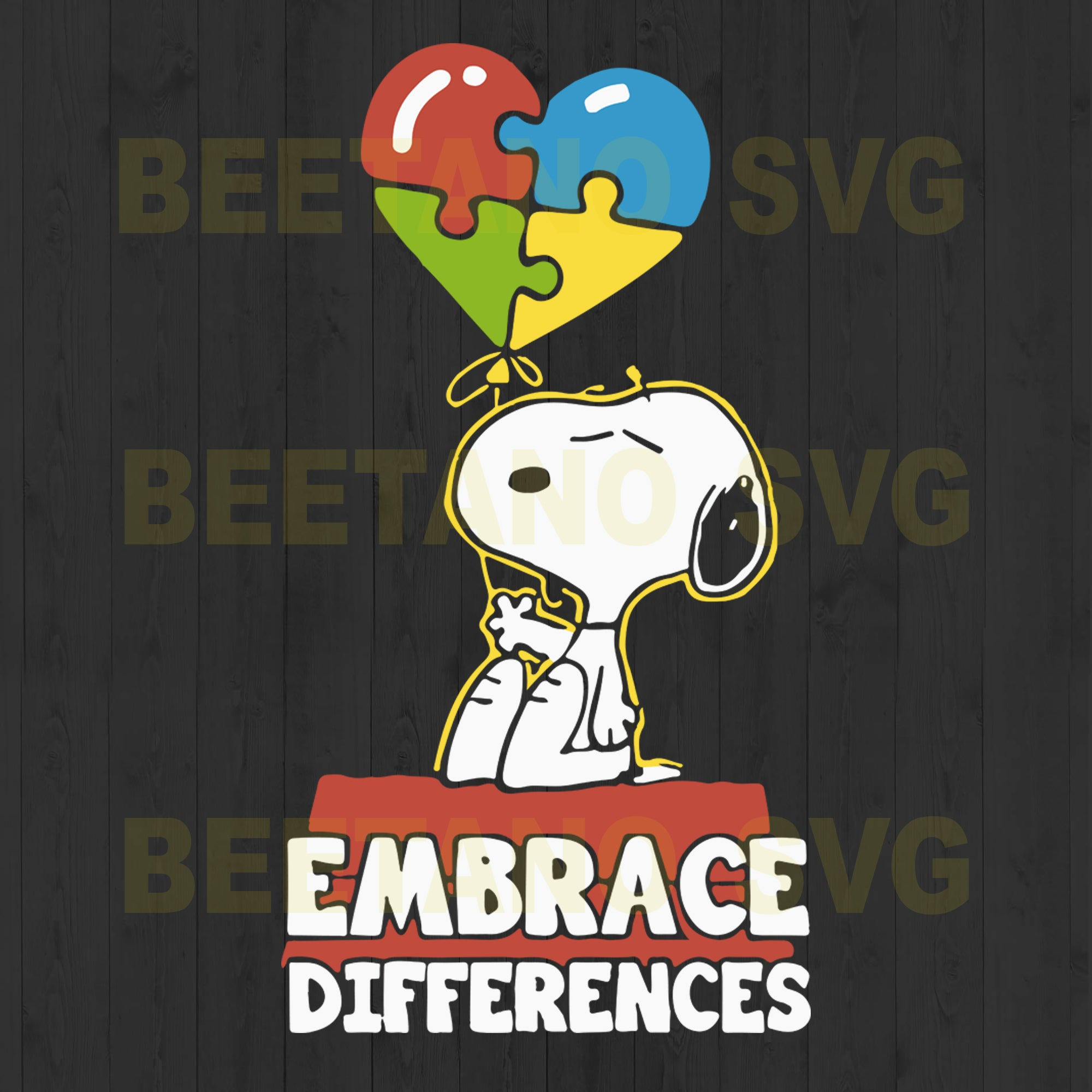 Snoopy Autism Embrace Differences, Snoopy Autism Svg, Snoopy Embrace Differences Files