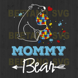 Autism Mommy Bear Svg Files