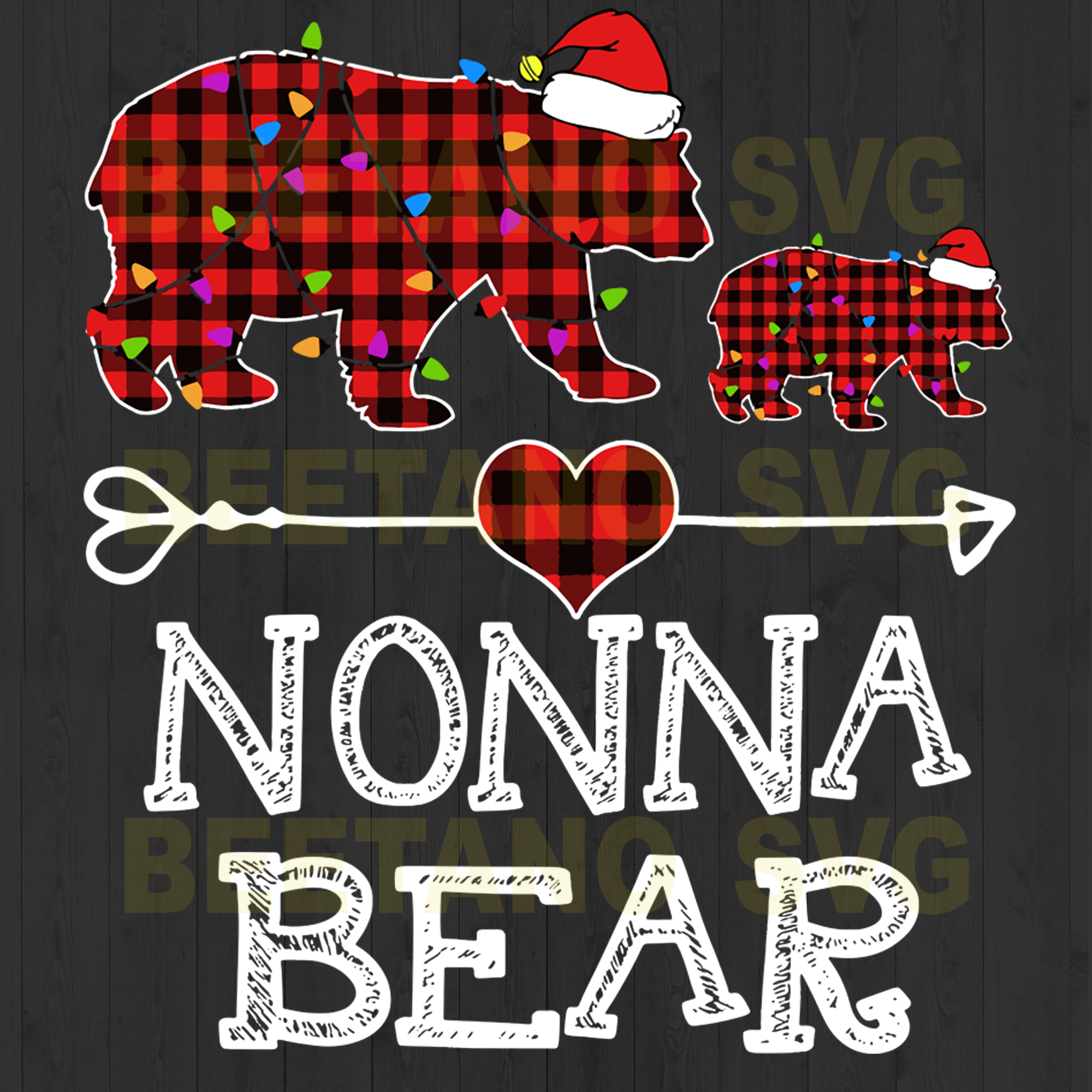 Nonna Bear Santa Hat Svg Files, Family Svg, Nonna Bear Clipart, Nonna Bear Vector, Nonna Bear Cutting Files For Cricut, SVG, DXF, EPS, PNG Instant