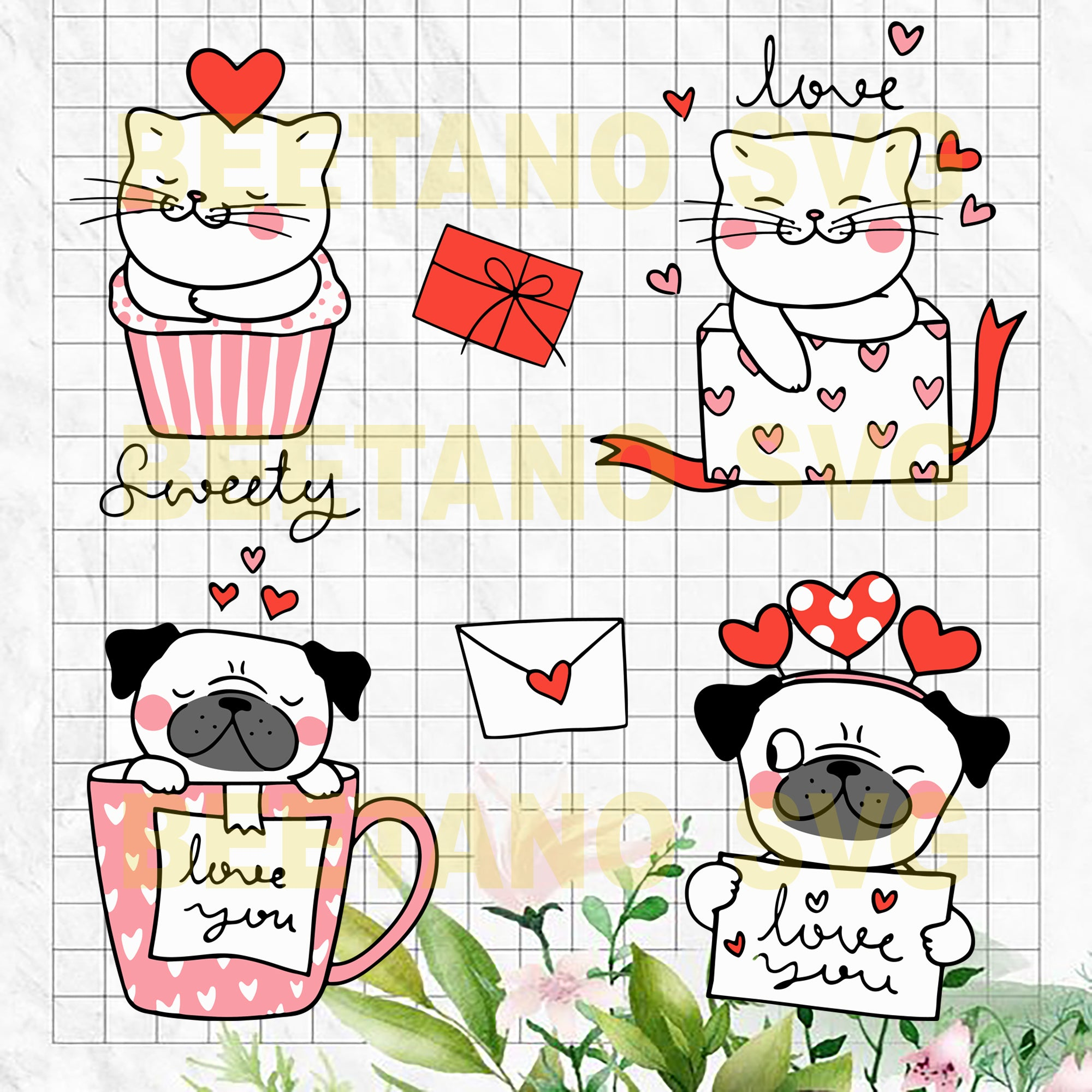 Sweety animals Cutting Files For Cricut, SVG, DXF, EPS, PNG Instant Download