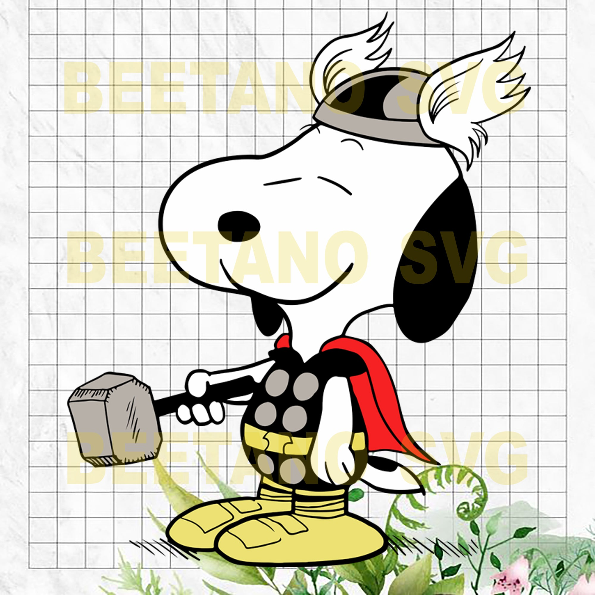 Snoopy Thor Cutting Files For Cricut, SVG, DXF, EPS, PNG Instant Download