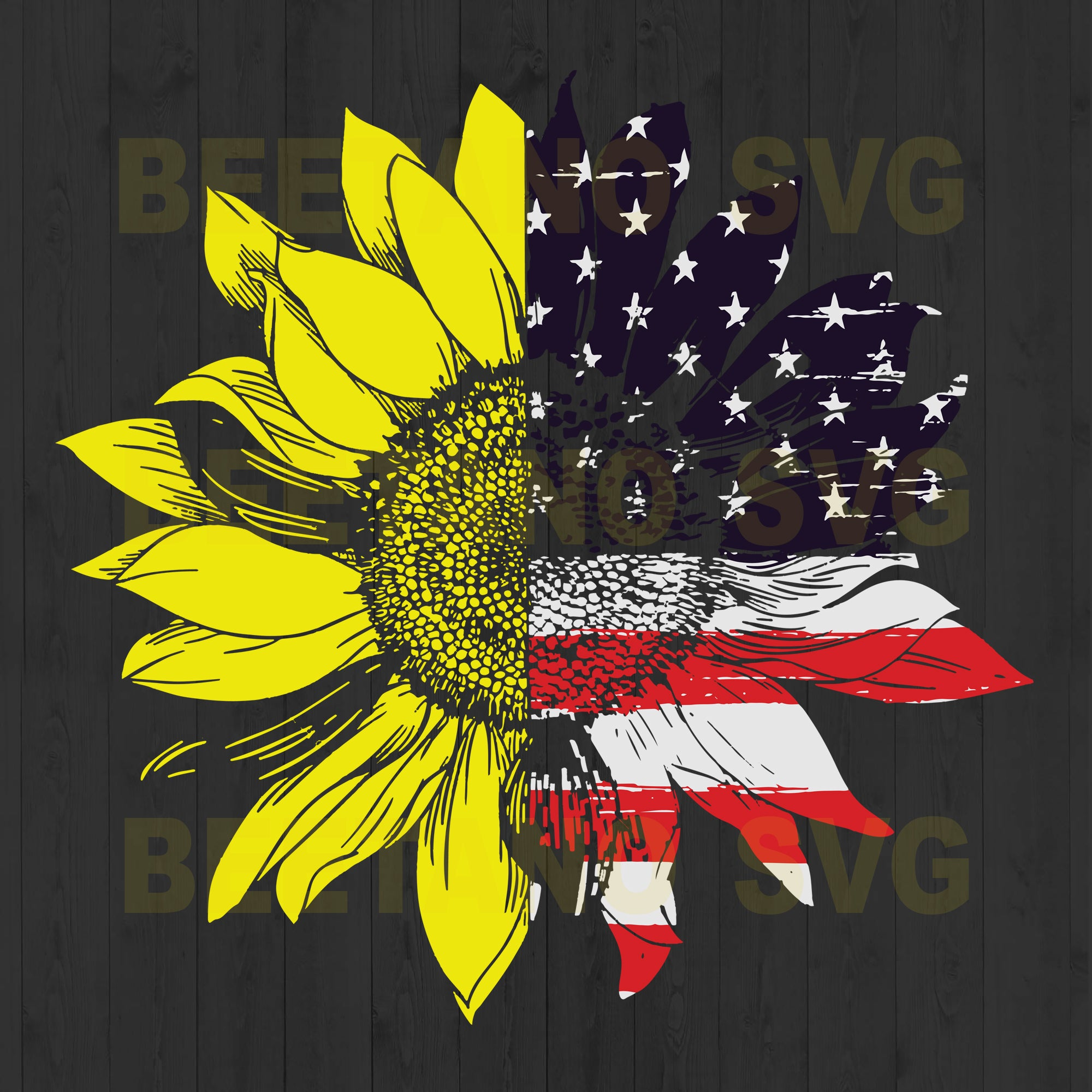 Sunflower American Flag Svg Files, American Flag Svg Files, Sunflower Svg Files, American Flag Svg