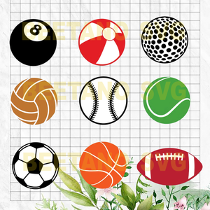 Sport Ball Svg Bundle, Sport Ball Vector, Sport Ball Clipart, Sport Ball Bundle Cutting Files For Cricut, SVG, DXF, EPS, PNG Instant Download