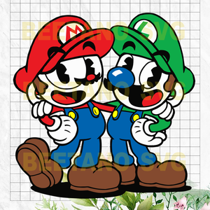 Super Cuphead and Mugman Svg, Super Mario Svg Files, Cuphead and Mugman Svg Files, Super Cuphead and Mugman Cutting Files For Cricut, SVG, DXF, EPS, PNG Instant Download