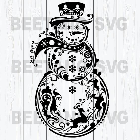 Snowman Svg, Mandala Snowman Svg Files, Snowman Christmas Svg, Mandala Snowman Cutting Files, Mandala Snowman Cutting Files For Cricut, SVG, DXF, EPS, PNG Instant Download