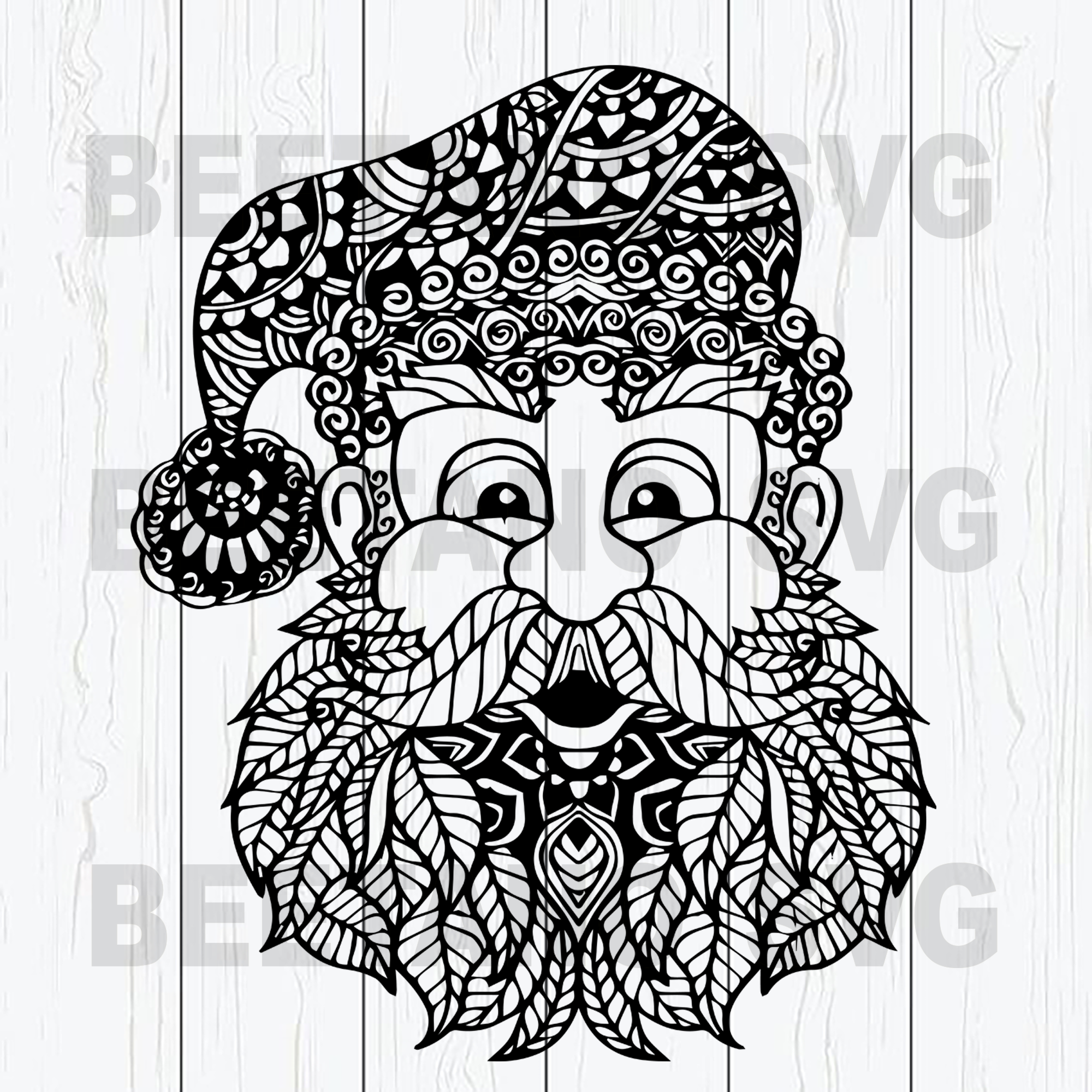 Mandala Santa Claus Svg Mandala Santa Cutting Files For Cricut Svg Beetanosvg Scalable Vector Graphics