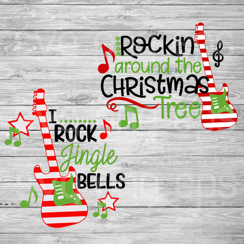 Rockin around the christmas tree svg, christmas svg, funny christmas quotes svg bundle, christmas svg bundle files, guitar christmas svg