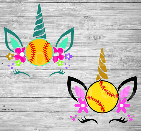 Softball Unicorn Svg Bundle Files For Cricut, SVG, DXF, EPS, PNG Instant Download