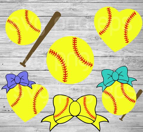 Softball Bundle Svg Files For Cricut, SVG, DXF, EPS, PNG Instant Download