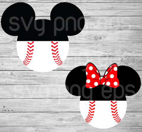 Softball Mickey Minnie Svg Bundle, Softball Svg Files For Cricut, SVG, DXF, EPS, PNG Instant Download