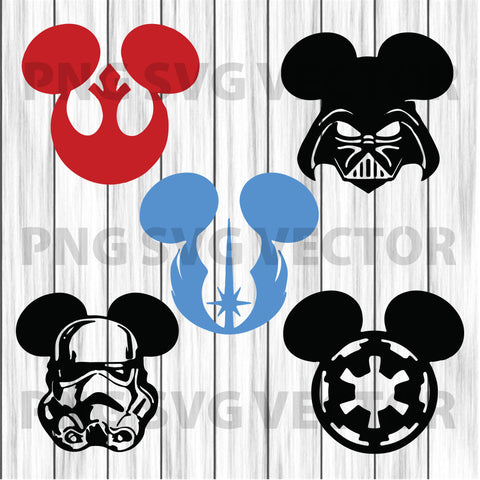 Mickey Star war svg, Mickey head star war bundle svg, star war clipart, star war file for cricut, star war bundle cutting file