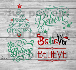 Joy Love Peace Believe Christmas Svg files, Christmas Svg Bundle, Christmas Quotes Bundle Files, Believe Svg Files