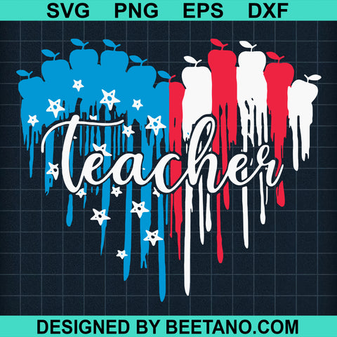 Teacher Heart American Flag