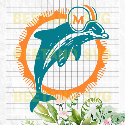 Miami Dolphins logo Cutting Files For Cricut, SVG, DXF, EPS, PNG Instant Download