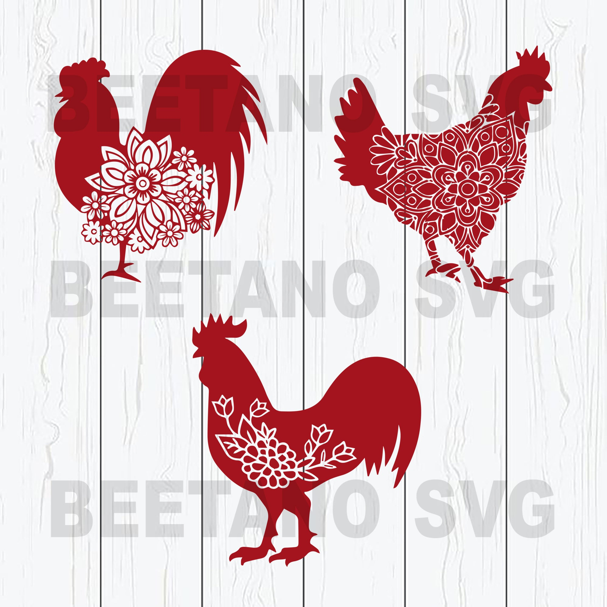 Red Mandala Chicken Svg Files, Mandala Chicken Files For Instant Download